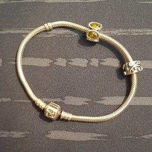 Pandora bracelets with two charms.